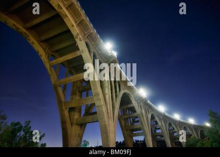 Underneath the Colorado Street Bridge, aka Suicide Bridge, in Pasadena, California - Stock Image