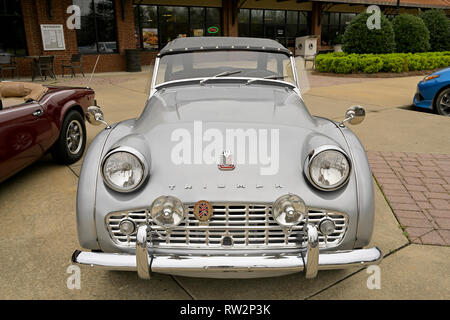 Vintage, classic or antique British sports car, Triumph TR3 soft top roadster on display at a classic car show in Pike Road Alabama, USA. - Stock Image