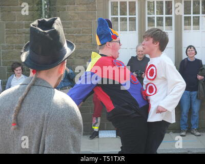Young performers in the Midgley Pace Egg Play at Hebden Bridge, a traditional mumming play performed for hundreds of years in the Calder Valley - Stock Image