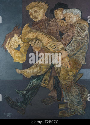 The Captive, a 1962 large mixed media work by James Gorman (1931-2005) of the Glasgow Group. Depicts gang violence in Glasgow at the time. - Stock Image