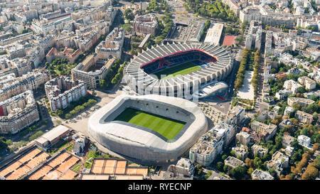 Aerial view of Stadion Le Parc des Princes & Stadion Jean Bouin, Paris - Stock Image