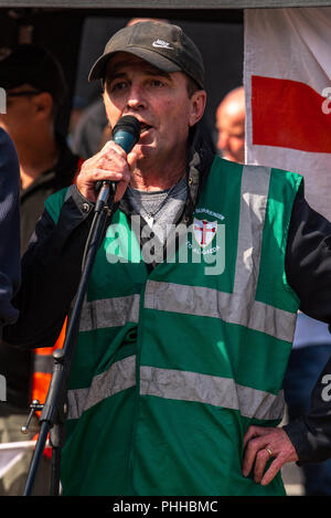 Worcester, United Kingdom. 1 September 2018. The English Defence League (EDL) held a national demonstration in the West Midlands town of Worcester, approximately 200 people attended. A counter-protest was held a short distance away with approximately 500 people.  PICTURED: An EDL Supporter makes a speech in Worcester town centre. Credit: Peter Manning/Alamy Live News - Stock Image