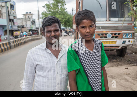 Two Indian boys posing for a portrait in a small village in south India. - Stock Image