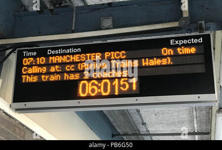 Arriva trains Wales service from Llandudno to Manchester Piccadily, Warrington Bank Quay, Cheshire, North West England, UK - Stock Image