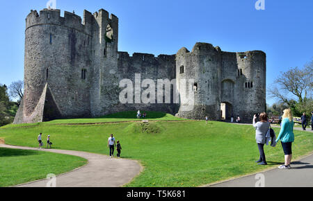 Chepstow Castle dating from the 11th century, Wales - Stock Image