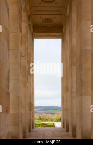 The Château-Thierry American Monument - interiror, view over the French landscape - Stock Image