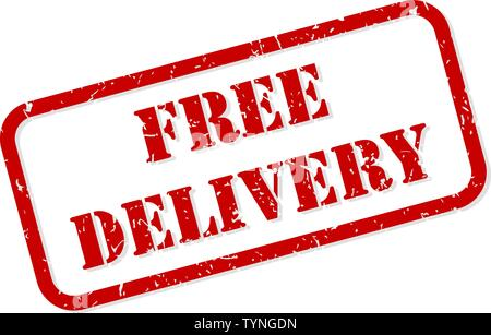 Free delivery red rubber stamp vector isolated - Stock Image