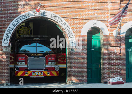 America, South Carolina, Charleston historic downtown fire station - Stock Image