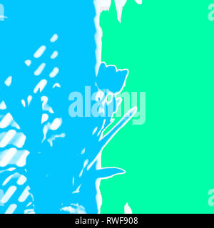 Contemporary floral abstract image of spring tulips in blue and green with the subtlest hint of pink. This image will make a bold statement on any wal - Stock Image