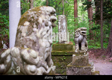 A-Un komainu statues at the bottom of stairway leading to Towada Shinto shrine. The lion-dog-like figures are meant to ward off evil. Aomori prefectur - Stock Image
