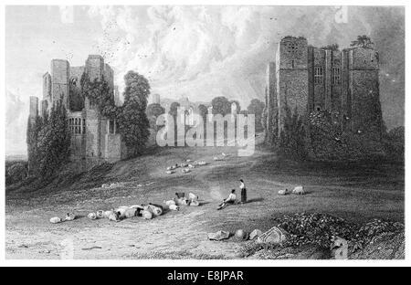 Kenilworth Castle  Warwickshire, England circa 1880 - Stock Image