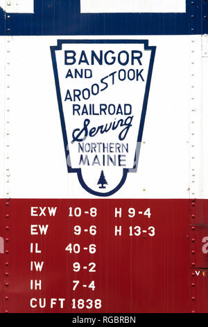 Bangor and Aroostook Railroad logo on an antique wagon displayed at the Conway Scenic Railroad in North Conway, New Hampshire. - Stock Image