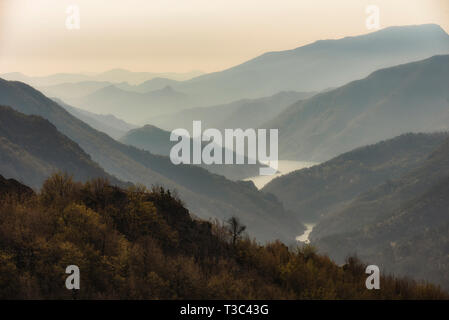 Mountain river valley landscape from Bulgaria, Rhodope mountain - Stock Image