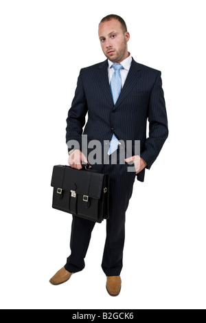 executive with briefcase on isolated background - Stock Image