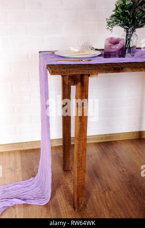 Gauze runner for weddings events, centerpieces runner, cheese cloth runner, table hand dyed runner, cotton scrim, cheesecloth - Stock Image