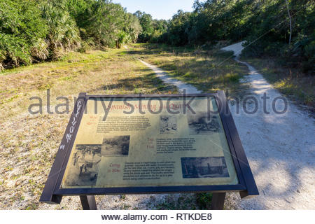 Site of a former Spanish coquina stone mining quarry at St Augustine Beach, Florida USA - Stock Image