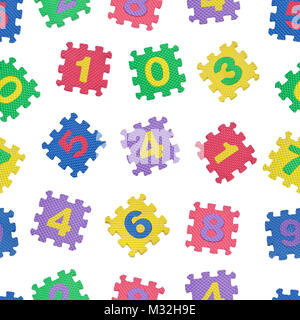 Seamless pattern of colorful number blocks isolated on white background - Stock Image