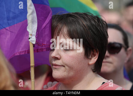 Sara, the partner of 29-year-old journalist Lyra McKee at a rally in Londonderry, Northern Ireland, following her death last night after guns were fired and petrol bombs were thrown in what police are treating as a 'terrorist incident'. - Stock Image