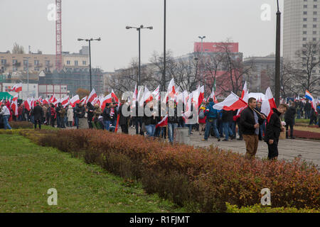 Warsaw, Poland, 11 November 2018: Celebrations of Polish Independence Day in a mass march that gathered more than 200 thousand people - Stock Image