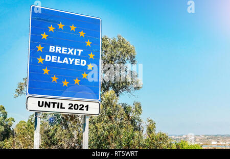 UK is set to extend leaving the EU via Article 50 beyond March 29, 2019, potentially until 2021 - Stock Image