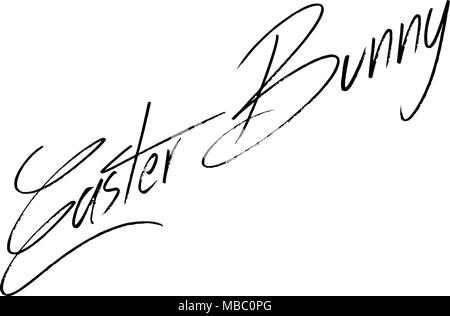 Easter Bunny text sign illustration on white background - Stock Image