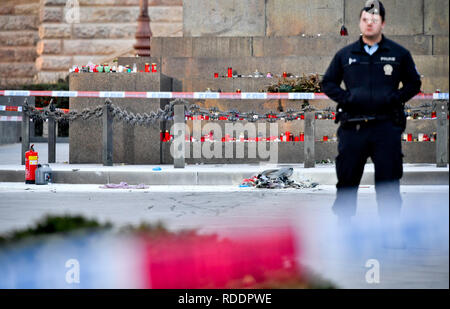 Prague, Czech Republic. 18th Sep, 2019. Burnt clothes is seen on the scene of the accident at upper part of Wenceslas Square in Prague, Czech Republic, where a man, born in 1964, poured combustible on him and set himself on fire on Friday, Jan. 18, 2019. The passers-by managed to put out the fire, his face and hands are burnt. Police inspect the incident. The paramedics told the media that the man suffered burns on 30 percent of his body. He was induced in artificial sleep and hospitalised. Credit: Vit Simanek/CTK Photo/Alamy Live News - Stock Image