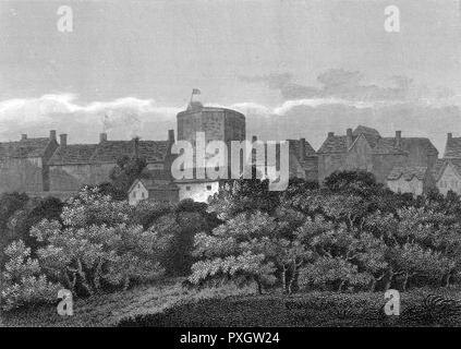 A view of this London theatre peeping out from among the trees of Southwark. Built in 1594-96 by Francis Langley it was built of a concrete of flint stones & wooden columns.     Date: 1614 - Stock Image