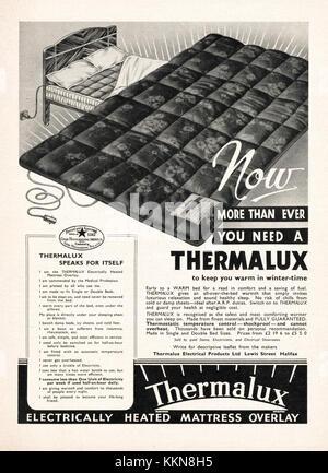 1939 UK Magazine Thermalux Electric Blanket Ad - Stock Image