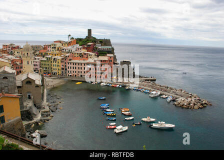Beautiful view of Vernazza .Is one of five famous colorful villages of Cinque Terre National Park in Italy, suspended between sea and land on sheer cl - Stock Image