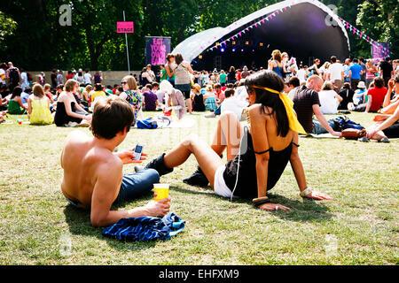 Field Day festival in Victoria Park London. - Stock Image