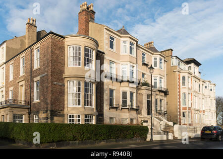 Collingwood Terrace,  a row of town houses, Tynemouth, north east England, UK - Stock Image