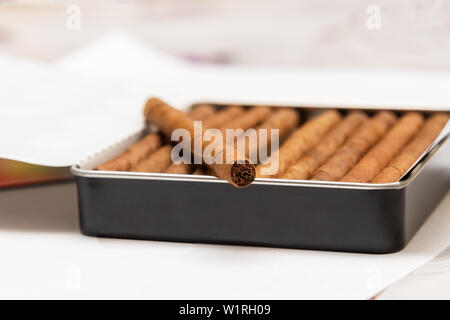 Box of cigarillos on a white background. On the box is one cigarillo - Stock Image