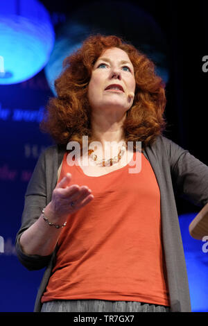 Hay Festival, Hay on Wye, Powys, Wales, UK - Thursday 30th May 2019 - Professor Angie Hobbs on stage at the Hay Festival talking about her book Plato's Republic.  Photo Steven May / Alamy Live News - Stock Image