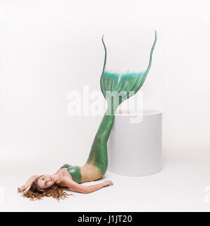 Mermaid in studio - Stock Image