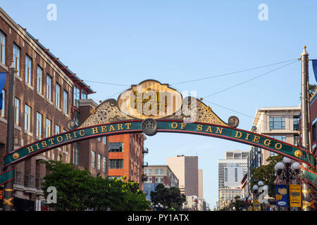 Sign at the entrance to the Gaslamp Quarter, the 'Historic Heart of San Diego', California, USA - Stock Image