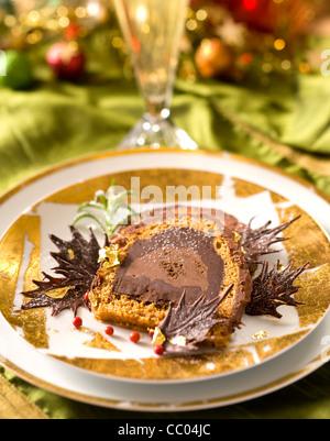Gingerbread Yule Log - Stock Image