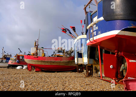 Hastings Fishing Boats on the Stade Old Town Fishermen's beach, East Sussex, UK on a stormy day in winter. - Stock Image