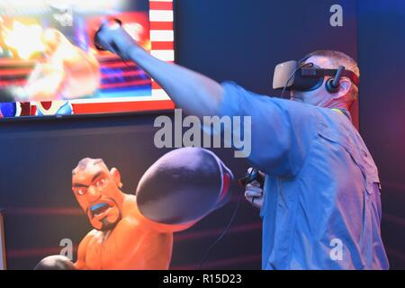 'Dell Experience' virtual reality boxing at CES (Consumer Electronics Show), the world's largest technology trade show, held in Las Vegas, USA. - Stock Image