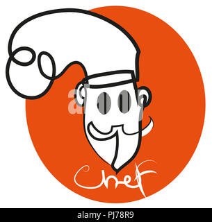 Chef logo.  illustration of chef lofo in the orange background. - Stock Image
