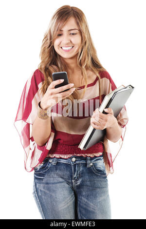 Stock image of female college student using phone isolated on white background - Stock Image