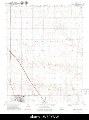 USGS TOPO Map Kansas KS Oakley North 512134 1979 24000 Restoration - Stock Image