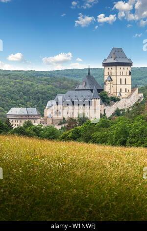 Karlstejn Castle. Summer day. Czech Republic. - Stock Image