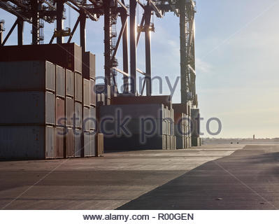 Container stacks at Port of Felixstowe, England - Stock Image
