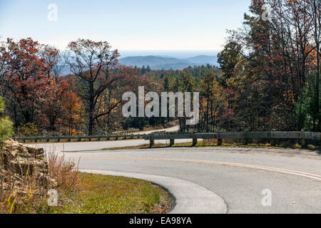 Switch back park road in Nantahala National Forest near Gorges State Park near Cashiers, North Carolina, USA - Stock Image