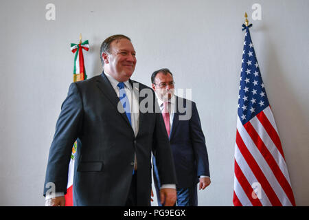 U.S. Secretary of State Michael R. Pompeo meets with Mexican Foreign Secretary Luis Videgaray Caso in Mexico City, Mexico on July 13, 2018. - Stock Image