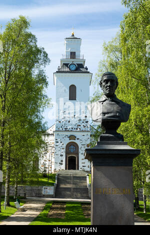Bust of statesman and philosopher J. V. Snellman in a park named after him beside the Lutheran Cathedral of Kuopio in Savo province, Eastern Finland. - Stock Image