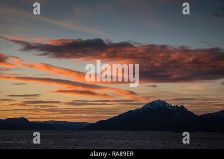 Arctic twilight as sailing south on the Hurtigruten. - Stock Image