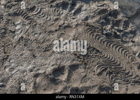Shoe prints in muddy country footpath. - Stock Image