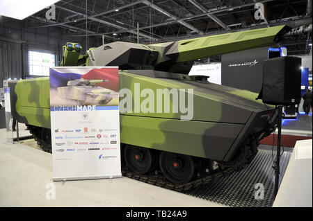 Brno, Czech Republic. 29th May, 2019. German Lynx KF41 infantry fighting vehicle was presented at the international trade fair of defence and security technology IDET, trade fair of security technology and services ISET and trade fair of firefighting technology PYROS in Brno, Czech Republic, May 29, 2019. Credit: Igor Zehl/CTK Photo/Alamy Live News - Stock Image