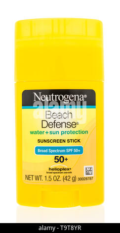 Winneconne, WI - 15 May 2019 : A package of Neutrogena beach defense sunscreen stick on an isolated background - Stock Image